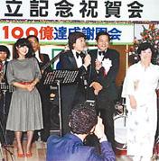 年商100億円突破を記念して開かれた青山商事の謝恩パーティー。右から2人目が青山氏 (1983年、福山市内のホテル)